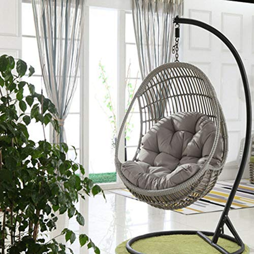 HANSHAN Color Rocking Chair Cushions for Indoor Outdoor-Papasan Chair Cushion-Garden Egg Hammock Seat Cushion-Easy to Clean 120×86cm(47×34inch) (Color : Gray)