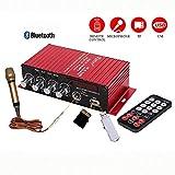 MA-130 Car Digital Audio Player Bluetooth Power Amplifier 2-CH x 20W Hi-Fi Stereo BASS Treble AMP MIC USB FM TF MP3 Input Opening Sale