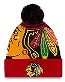 Chicago Blackhawks New Era Logo Whiz Red Cuffed Pomニットビーニー帽子/キャップ