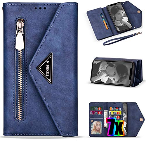LG Stylo 5 Case Wallet,LG Stylo 5 Phone Case with Card Holder for Women,Vodico Leather Folio Flip Zipper Pocket Hand Clutch Purse Folding Magnetic Full Body Shockproof Stand Cover with Strap (Blue)
