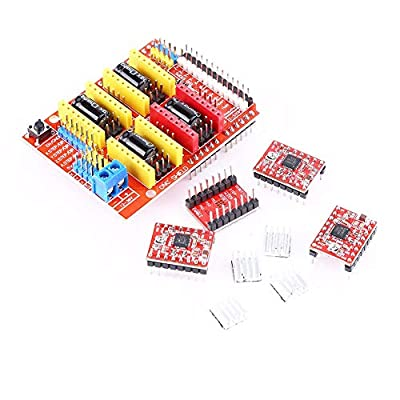 Gaoominy 3D CNC Shield Board for R3 + 4Pcs A4988 Stepper Motor Driver for 3D Printer