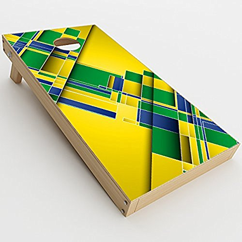 Skin Decal Vinyl Wrap for Cornhole Game Board Bag Toss / Brazil Tech Colors