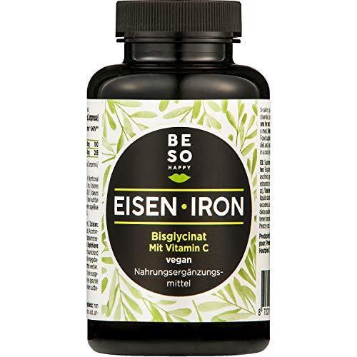 BeSoHappy® Ferro e Vitamina C (180 compresse per 6 mesi di assunzione) Ingredienti Efficaci di Alta Qualità l Adatto ai Vegani, Senza Glutine e Senza Lattosio