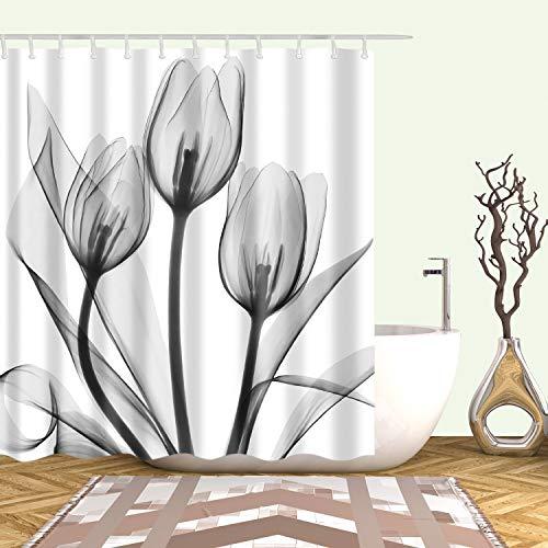 XCBN Cortina de ducha con diseño de flores tropicales para baño, cortina de ducha impermeable, decoración de pantalla de baño, tamaño A8, 150 x 200 cm