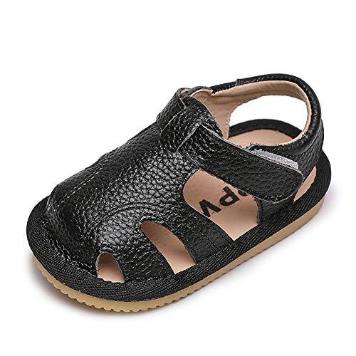 Sandalen Baby Jungen Mädchen Weiches Leder Sommer Geschlossene Zehensandale Baby Jungen Mädchen Strand Innen Draussen Lauflernschuhe Schuhe Kleinkind 18 EU,Schwarz