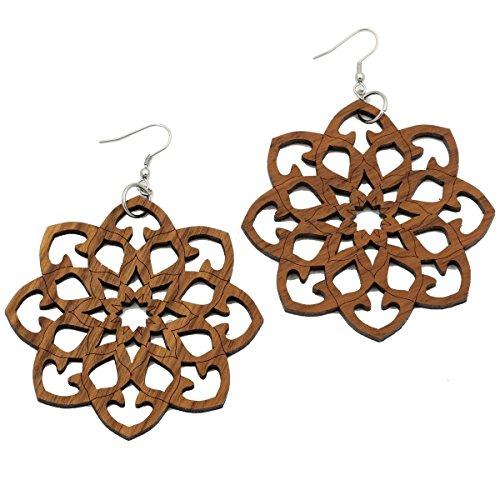 Eydl Wood Jewelry Mandala - Ohrringe - Nuss - Dunkles Holz - Ø 25 mm
