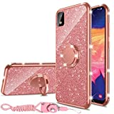 Samsung Galaxy A10E Case, Glitter Luxury Sparkles Cute TPU Silicone Phone Case for Women Girls with Kickstand, Bling Diamond Rhinestone Ring Stand Slim Case for Samsung A10E (Rose Gold)