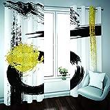 Cortinas Salón Modernas Opacas para Ventanas de Resistente a la Luz Tela Suave y Gruesa con Ojales - Arte Negro Creativo 260x180 cm (Ancho x Alto)