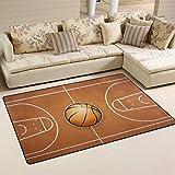 Use7 Alfombra de baloncesto de madera antideslizante para salón infantil o dormitorio, tela, Varios Colores, 100 x 150 cm(3' x 5' ft)