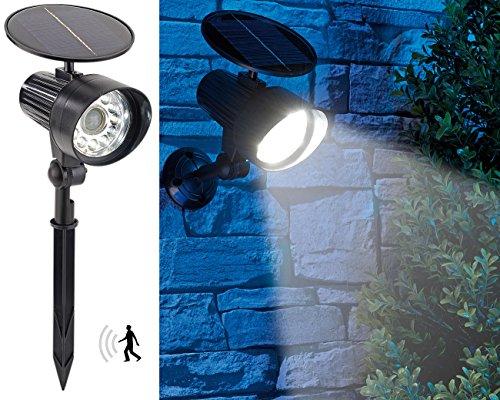 Royal Gardineer Solar Spot: 2in1-Solar-LED-Wand- und Wegeleuchte mit Licht-Sensor und PIR-Sensor, (Leuchten für Balkon)
