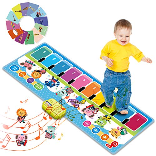 Joyjoz Musical Toys for Toddlers, Little Girl Boy Learning Toys Gift, Kids Baby Toddler Floor Piano Musical Dance Mat with Imitation Playing, Music Creation, Portable Educational Toy to Dev Creativity