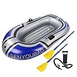 EYLIFE Kayak Hinchable 2 Plazas, Barca Inflable con remos y Bomba de Aire, Barca Hinchable de Canoa Kayak de PVC Grueso para Pesca a la Deriva, Capacidad Máxima De Carga 150 Kg
