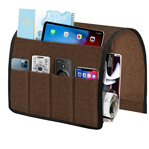 Joywell Armchair Caddy 6 Pockets Remote Holder on Couch amp Chair Arm for TV Remote Control Sofa Armrest Organizer for Magazine Books Cell Phone iPad Brown