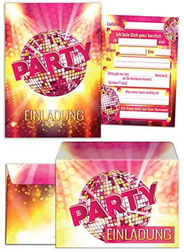 12 Einladungskarten zum Geburtstag incl. 12 Umschläge / Einladungen / Kindergeburtstag / Disco-Kugel / Pink / Disco-Party / Umschlag / Einladungen zum Geburtstag (12 Karten + 12 Umschläge)