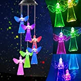ROSRAN Solar Angel Wind Chimes Waterproof Solar Wind Chimes LED Hanging Patio Light Unique Gifts for Mom Women Girlfriend Wife Indoor Outdoor Romantic Decoration Color-Changing LED Lights Angel