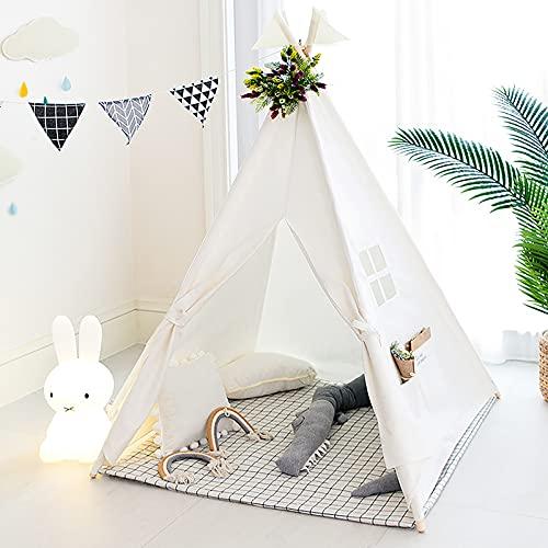 TreeBud Tenda per Bambini, Tenda da Gioco Classica Indiana in Tela di Cotone con Borsa per Il Trasporto, Casetta da Gioco Pieghevole per Giochi al Coperto o all'aperto (Bianco)