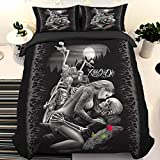 Skull Duvet Cover Queen 3D Ride or Die Skull Printed Bedding Duvet Cover with Zipper Closure for Adults, 3 Pieces(1 Duvet Cover +2 Pillowcases) Soft Microfiber Bedding 90'x 90'