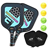 A11N HyperFeather Pickleball Paddles Set of 2 - USAPA Approved | 8OZ, Graphite Face & Polymer Core, Cushion Grip | 2 Indoor & 2 Outdoor Balls, 2 Covers, Blue