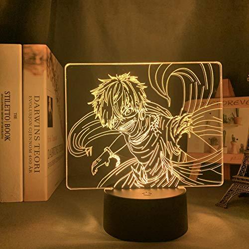 Lámpara De Ilusión 3D Luz De Noche LED Tokyo Ghoul - Lámpara Ken Kaneki Para Dormitorio Ligero Acrílico Luz De Sueño Para Niños Regalo De Cumpleaños