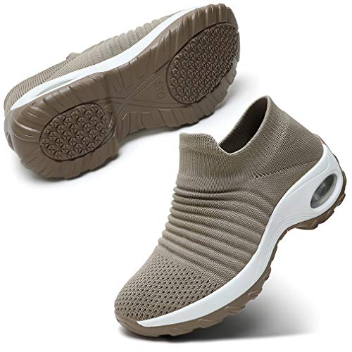 STQ Walking Shoes for Women Tennis Fitness Shoes Air Cushion Workout Sneakers, Taupe 7.5