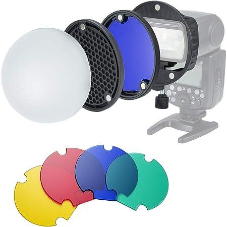 INSSTRO Kit de accesorios para Flash Magnético universal, Filtro de color Softbox Honeycomb Grid para Flash Canon, Nikon, Godox, YONGNUO Speedlite
