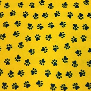 Printed Fleece Fabric - 2 Yards (Yellow/Black Paws)