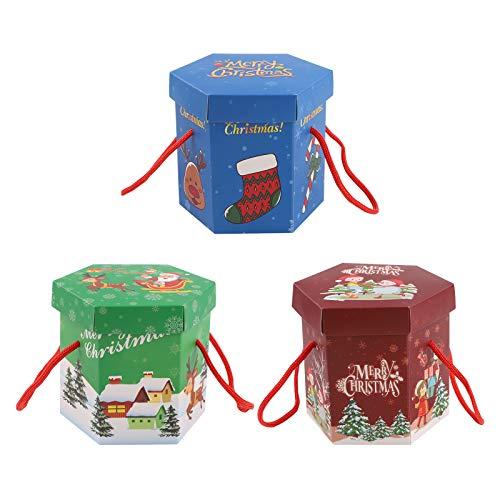 15 Stück Weihnachtsgeschenkboxen Sechseck-Papierbox Weihnachts-Bonbonboxen mit Griff Christmas Treat Box Party-Geschenkboxen für Kuchen Weihnachten Apple-Boxen mit Deckel für Kinder präsentiert Party