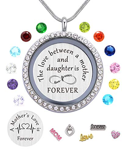 Daughter or Mom Love Gift, Memory Floating Locket Pendant Necklace with Birthstones & Charm for Morther Mom Mammy Mama