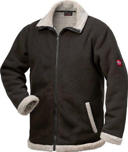 NORWAY Berber Fleece-Jacke - schwarz/grau - Größe: S