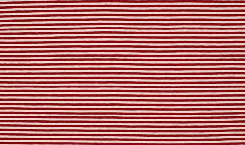 Qualitativ hochwertiger Jersey Stoff Rot/Weiß schmal gestreift als Meterware zum Nähen von Baby, Kinder- und Damenkleidung, 50 cm