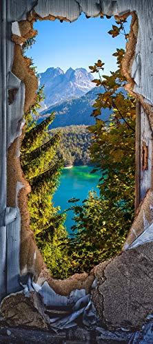 Türposter Alpen Türaufkleber Möbelfolie Natur Wald Urlaub See Zugspitze 1268-86x200cm