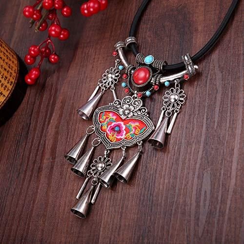 THTHT Vintage halsketting etnische stijl vrouwen stijl geborduurd stukken wensen kwasten mode persoonlijkheid Boheemse hanger accessoires voor blokkering