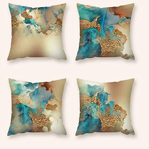 Waza - Federa per cuscino, 4 pezzi, in morbido peluche, decorativa, quadrata, 45 x 45 cm, lavabile in lavatrice