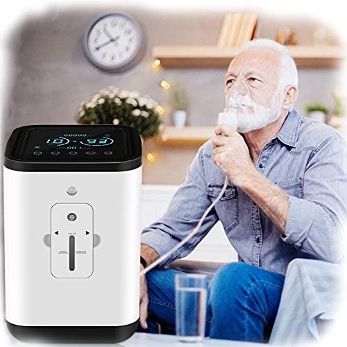 KKTECT Concentrador de oxígeno, máquina de oxígeno portátil de 1-7 l/min 42db Silencioso con un hermoso campo de color IMD Gran caudal para el hogar y los viajes