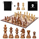 ■King Height 3.75 Inch,Diameter 1.44 inch,Pawns Height 1.85 Inch,Diameter 1.07 inch ■Extra Gift: This set are not Chess pieces only included, but give away a large folding 19 inch Chess board. Please kindly note, the material of Chessboard are PU and...