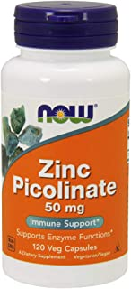 NOW Supplements, Zinc Picolinate 50 mg, Supports Enzyme Functions*, Immune Support*, 120 Veg Capsules
