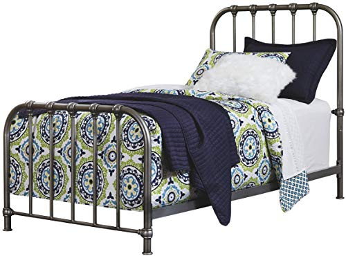 Ashley Furniture Signature Design - Nashburg Metal Bed - Complete Headboard and Footboard with Rails - Twin - Bronze Finish