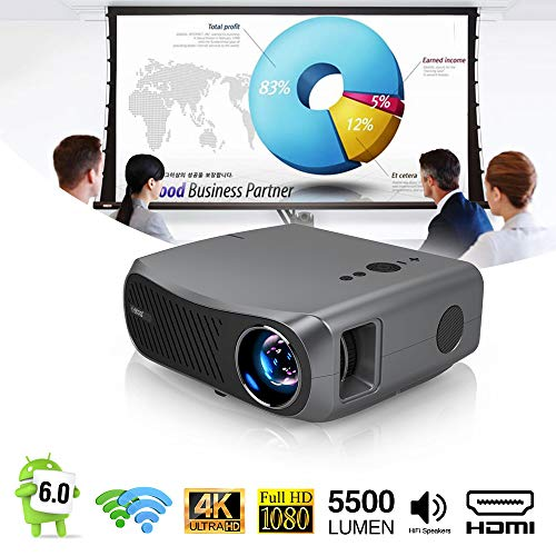 EUG Native 1080P Full HD Projector Bluetooth Wireless 5500lm 5G WiFi 2G+16G Android LCD Projector Home Theater Cinema HDMI USB VGA 4D Zoom for Outdoor Movies Games Classroom Presentation Arts