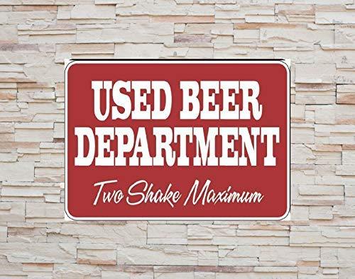 Aviso Precaución Cartel de chapa de metal Rojo Departamento de cerveza usado Rojo Dos batidos Advertencia máxima Seguridad en la calle Decoración de pared 12x16 pulgadas