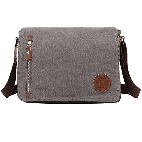 Egoelife Unisex Casual Canvas Satchel Messenger Bag for Traveling Camping (Grey)