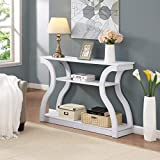 White Finish Hall Console Sofa Entryway Accent Table Modern Design 47.5' Wide by RAAMZO