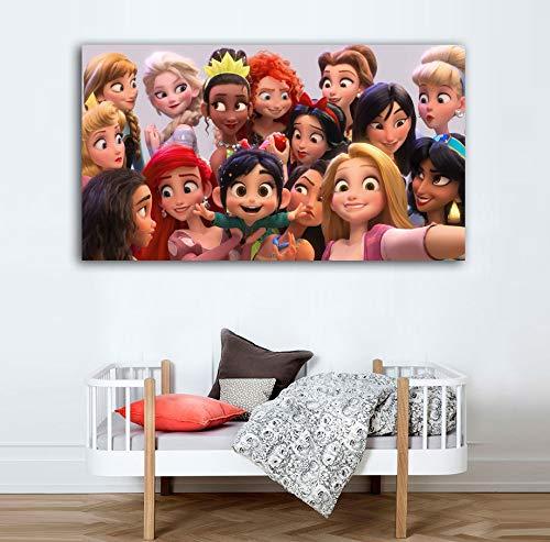 Desconocido Cuadro Lienzo Infantil Princesas Disney Selfie – Varias Medidas - Lienzo de Tela Bastidor de Madera de 3 cm - Impresion Alta resolucion (50, 28)