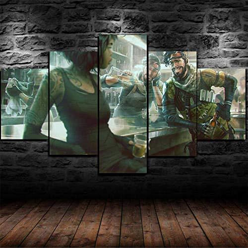 MENGLE Cuadro Decoración Arte Pared Salon Abstractos Hogar Moderno-Impresión En Lienzo 5 Piezas XXL-Mural No Tejido Impresión Artística Imagen Gráfica Regalo Apex Legen 125X60Cm