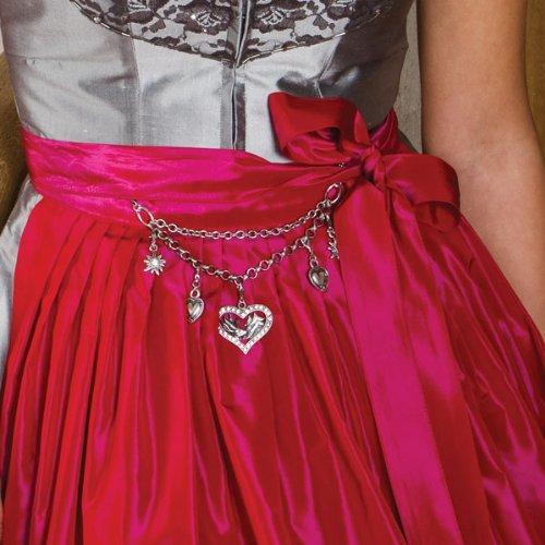 Trachtenschmuck * Damen Charivari Bambi Strass-Herz * Trachtenkette mit Trachten-Herz und Strass-Edelweiß * Dirndlkette Oktoberfest Dirndl-Schmuck (antik-silber-farben) - 2