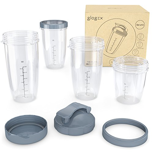 Glogex - NutriBullet Replacement Cups and Lids [8 Piece Set] for 600W/Pro 900 Series