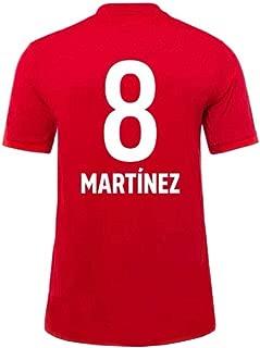 FENGS Javi Martinez #8 Men's Soccer Jersey - Short Sleeve Sports Jersey T-Shirt Fan Shirt Red-M