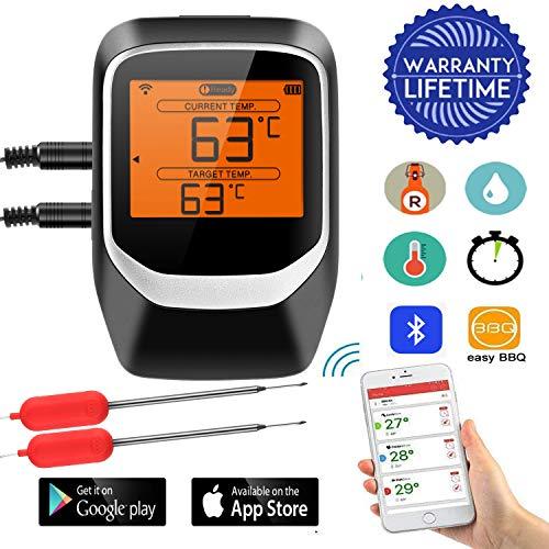 Termometro per Barbecue con 2X Sonda, Sendowtek Wireless Termometro Digitale Bluetooth per BBQ Cucina Carne Grigliate Forno e Frittura, App Supporto iOS & Android con Timer, Magnete e Display LCD