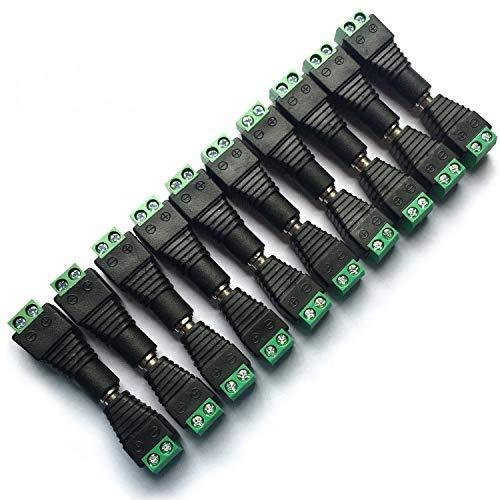 10 Paare 2,1 mm x 5,5 mm DC Stecker DC Buchse Stromanschlussstecker Adapteranschluss Netzadapter für CCTV Kamera Einfarbige LED Streifen LichtDC Netzteil Stecker Netzadapter