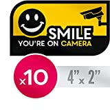 UV Resistant No Fade Security CCTV Warning Sticker | 10 Pack Smile You're on Camera Decals