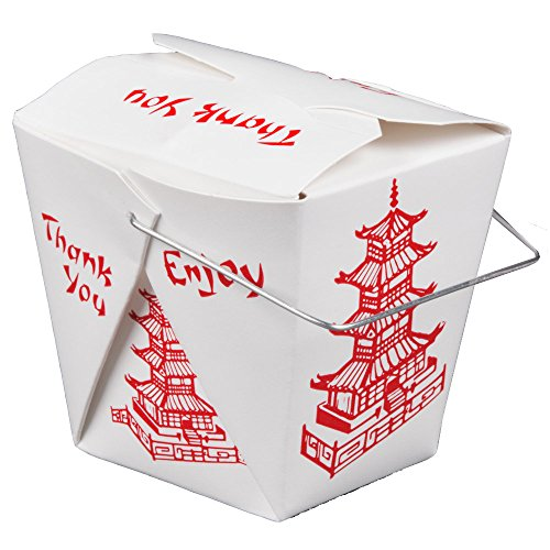 Pack of 15 Chinese Take Out Boxes PAGODA 32 oz / Quart Size Party Favor and Food Pail
